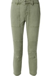 Current Elliott The Weslan Lace Up Cotton Blend Twill Slim Leg Pants Army Green