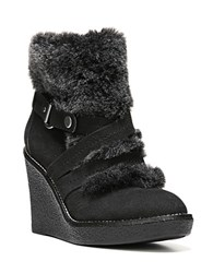 Fergie Omega Faux Fur Trimmed Wedge Booties Black
