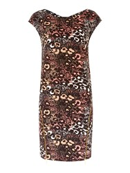 Biba Zip Detail Printed Jersey Dress Multi Coloured