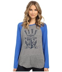 Vans Sideblinder Grey Heather Nautical Blue Women's T Shirt Gray