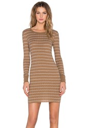 Enza Costa Cashmere Long Sleeve Mini Dress Tan