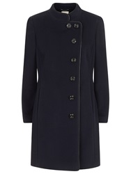 Windsmoor Funnel Neck Leatherette Trim Coat Navy