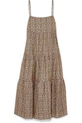 Matteau Floral Print Tiered Cotton Poplin Maxi Dress Beige