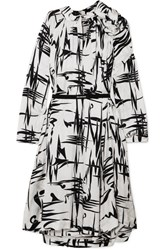 Balenciaga Gathered Printed Silk Jacquard Midi Dress White