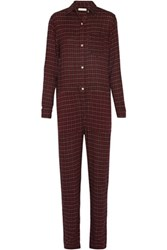 Etoile Isabel Marant Peters Checked Flannel Jumpsuit Burgundy