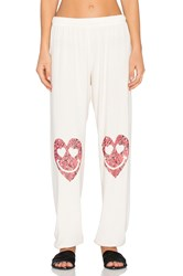 Lauren Moshi Tanzy Happy Heart Leg Long Pant White