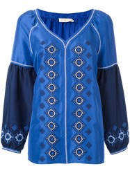 Tory Burch Ethnic Embroidery Blouse Blue