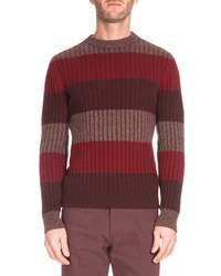 Berluti Thick Stripe Crewneck Sweater Red Red Pattern