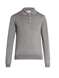 Brioni Wool Silk And Cashmere Blend Polo Shirt Grey