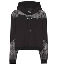 Mcq By Alexander Mcqueen Lace Panelled Hoodie Black