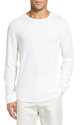 Vince Men's Trim Fit Crewneck Pullover Heather Optic White