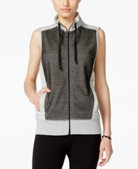 Material Girl Active Juniors' Mesh Trim Zipper Front Vest Only At Macy's Heather Plantinum