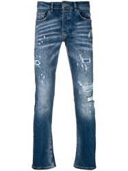 Frankie Morello Distressed Slim Fit Jeans Blue