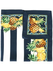 Dolce And Gabbana Pineapple Print Striped Scarf Blue