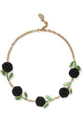 Red Valentino Gold Tone Crystal And Resin Necklace Black