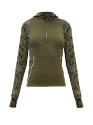 Adidas By Stella Mccartney Hooded Half Zip Running Jacket Khaki