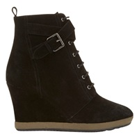 Mint Velvet Helen Wedge Heeled Ankle Boots Black Suede