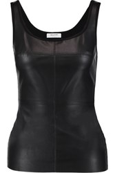 Bailey 44 Fonda Paneled Faux Leather And Stretch Jersey Tank Black