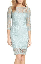 Tadashi Shoji Women's Embroidered Lace Sheath Dress Frosted Jade