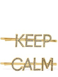 Bijoux De Famille Keep Calm Double Hair Clips Blue