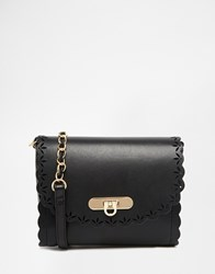 Asos Scallop Cross Body Bag With Laser Cut Out Black