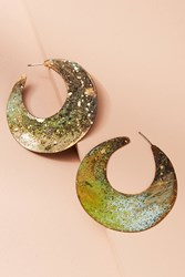 Anthropologie Waning Moon Hoop Earrings Green