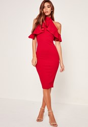Missguided High Neck Frill Cold Shoulder Midi Dress Red