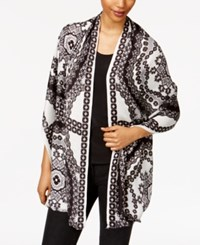 Inc International Concepts Printed Wrap And Scarf In One Only At Macy's Black Multi