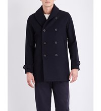 Richard James Shawl Collar Wool Peacoat Navy