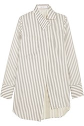 Adeam Asymmetric Striped Twill Shirt White
