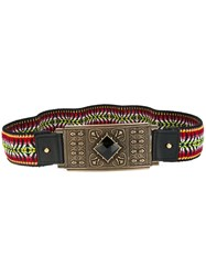 Etro Embroidered Plate Buckle Belt Black