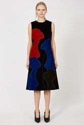 Christopher Kane Velvet Multi Colored Heads Dress Black