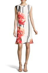 Eci Placement Print Sheath Dress Ivory Red