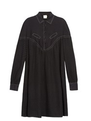 Cecilie Copenhagen Feliz Long Sleeved Cotton And Silk Blend Dress Black