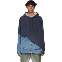 Greg Lauren Navy 50 50 Denim Hoodie Navy Denim