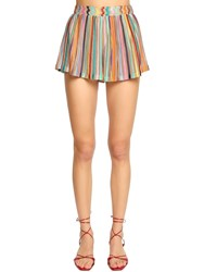 Missoni Pleated Rib Knit Shorts Multicolor