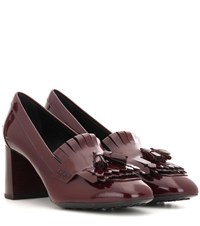 Tod's Patent Leather Loafer Pumps Red