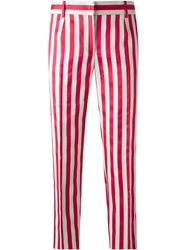 Dolce And Gabbana Striped Trousers Red