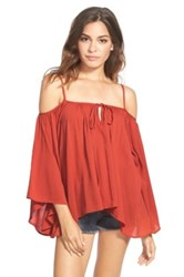 Living Doll Cold Shoulder Print Swing Top Juniors Red