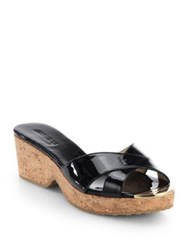 Jimmy Choo Panna Patent Leather Cork Wedge Slides Nude Black