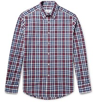 Dunhill Button Down Collar Checked Cotton Oxford Shirt Red
