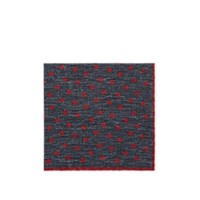 Eleventy Reversible Wool Cotton Pocket Square Red