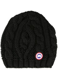 Canada Goose Chunky Cable Knit Beanie Hat Black