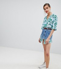 Reclaimed Vintage Revived Denim Skirt With Hawaiian Shirt Tails Co Ord Blue