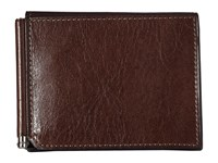 Bosca Old Leather Collection Money Clip W Pocket Teak Wallet Brown