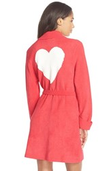 Women's Betsey Johnson Heart Back Sweater Robe Red Hot