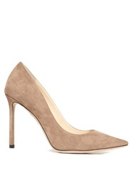 Jimmy Choo Romy 100Mm Suede Pumps Mid Beige