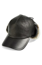 Rag And Bone Women's Rag And Bone Leather Hunter Cap With Genuine Shearling Lining