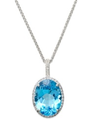 Macy's Blue Topaz 20 Ct. T.W. And White Topaz 3 8 Ct. T.W. Large Oval Pendant Necklace In Sterling Silver