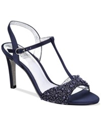 Adrianna Papell Alia T Strap Beaded Evening Sandals Women's Shoes Navy